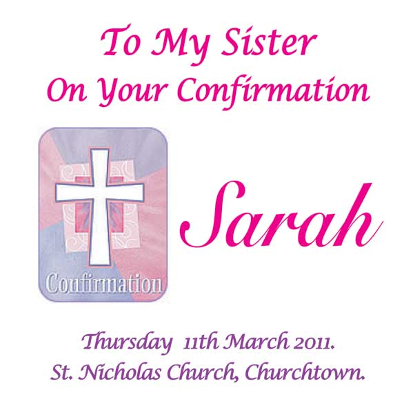 Girls Confirmation Card with Cross