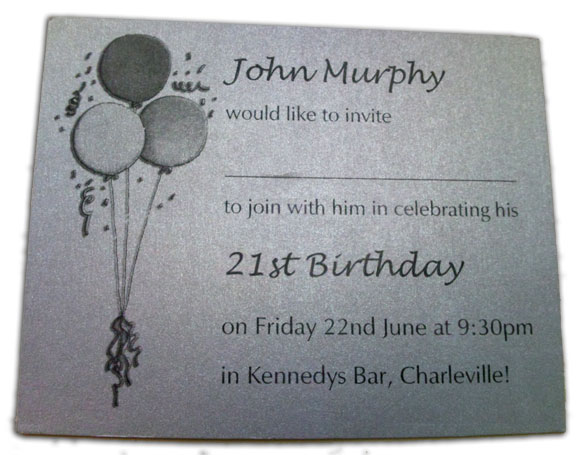 Silver Birthday Invitation